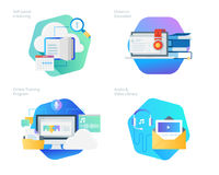 Material design icons set for distance education, audio and video library, online training and courses, self-paced e-learning. UI/UX kit for web design Royalty Free Stock Photography