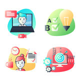 Material design icons set for education, video tutorials, online courses, training and development, sharing ideas. UI UX kit for web design, applications Royalty Free Stock Image