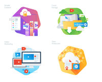 Material design icons set for mobile services and solutions, cloud storage, video marketing, data protection. UI/UX kit for web design, applications, mobile Royalty Free Stock Images