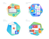 Material design icons set for social media video, cloud recording, VOD streaming, video security, online video streaming Royalty Free Stock Images