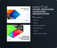 Material design style presentation template with colourful rectangles shadows. Abstract vector set of modern horizontal. Material design style presentation Royalty Free Stock Images
