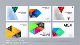 Material design style presentation template with colourful rectangles shadows. Abstract vector set of modern horizontal. Material design style presentation Royalty Free Stock Photos
