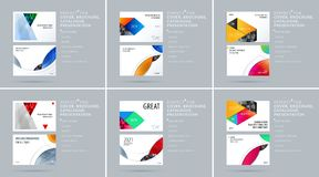 Material design style presentation template with colourful rectangles shadows. Abstract vector set of modern horizontal. Material design style presentation Stock Photos