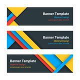 Material design web banners. Set of modern colorful horizontal vector banners, page headers. Trendy business template Stock Images