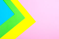 Material design yellow, blue, pink and green paper background. Photo. Stock Image