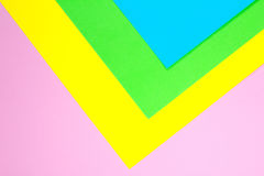 Material design yellow, blue, pink and green paper background. Photo. Stock Photo