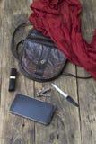 Material do saco da mulher, bolsa Fotografia de Stock Royalty Free