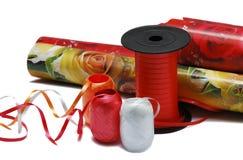 Material für Verpackung der Geschenke Stockfotografie