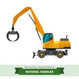 Material handler machine. Material handler forestry vehicle vector isolated illustration Royalty Free Stock Photos