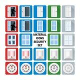 Material icons security set. Door, window, glass break, infrared PIR, smoke sensors Royalty Free Stock Image
