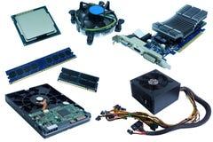 Material informático, disco rígido, processador central, fã do processador central, ram, cartão do VGA, e fonte de alimentação, fotografia de stock