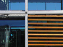 Material mix. Facade detail of a modern office building stock images