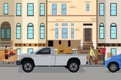 Material movente da carga dos pares em seu carro Foto de Stock