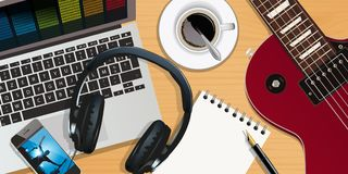 Material musik, inspelning, musiker, kompositör stock illustrationer