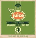 Material promocional de la impresión del vintage para el jugo orgánico Foto de archivo