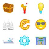 Material prosperity icons set, cartoon style. Material prosperity icons set. Cartoon set of 9 material prosperity vector icons for web isolated on white Royalty Free Stock Image