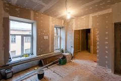 Material for repairs in an apartment is under construction, remodeling, rebuilding and renovation. Stock Photography