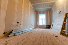 Material for repairs in an apartment is under construction, remodeling, rebuilding and renovation. Stock Photo