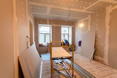 Material for repairs in an apartment is under construction, remodeling, rebuilding and renovation. Royalty Free Stock Photo