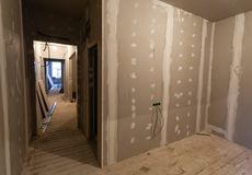 Material for repairs in an apartment is under construction, remodeling, rebuilding and renovation. Stock Images