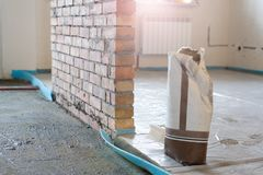 Material for repairs in an apartment is under construction and renovation.  royalty free stock photography