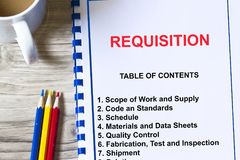 Material requisition concept. With topics on a cover sheet of a lecure Stock Photo