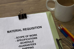 Material Requisition. Many uses in the oil and gas industry Royalty Free Stock Image