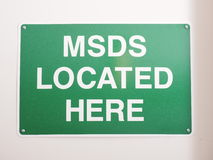 Material Safety Data Sheet MSDS location sign Stock Images