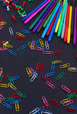 Material for school, paper clips, pencils Stock Photos