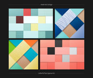 Material set. Set of abstract, colorful backgrounds. vector geometric, fashion wallpaper templates. material design backdrops collection. origami style, vector Royalty Free Stock Photography