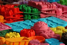 Material silicone mould to create cakes of many forms Stock Photos