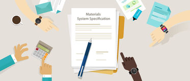 Material system specifications project procurement user requirement document. Vector Stock Image