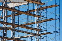 Material till byggnadsställningkonstruktionshorisontalfoto Arkivfoton