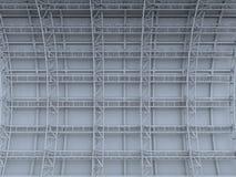Material till byggnadsställningmetallbråckbandet på betongväggen framförde bakgrund Arkivfoto