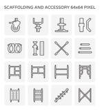 Material till byggnadsställningsymbolsuppsättning vektor illustrationer