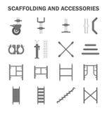 Material till byggnadsställningvektorsymbol stock illustrationer