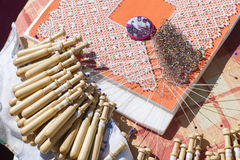 Material to Make Bobbin Lace. Royalty Free Stock Image