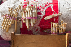 Material to Make Bobbin Lace. Royalty Free Stock Photos