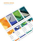 Material UI screens with 3d smartphon mockups kit. Trendy mobile UI kit, material geometric backgrounds. Welcome, lock, home page and file manager screens, with Royalty Free Stock Images