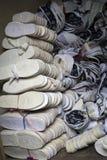 Material von handgemachten Stoffschuhen Stockfoto