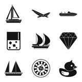 Material wealth icons set, simple style. Material wealth icons set. Simple set of 9 material wealth vector icons for web isolated on white background Royalty Free Stock Images
