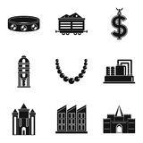 Material wealth icons set, simple style. Material wealth icons set. Simple set of 9 material wealth vector icons for web isolated on white background Stock Photo