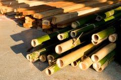 Materiale di bambù della costruzione in legno Fotografia Stock Libera da Diritti