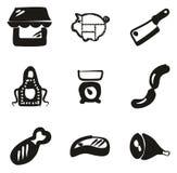 Materiale di riempimento di Shop Icons Freehand del macellaio Fotografia Stock Libera da Diritti