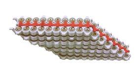 Materiale elettrico che protegge   derivando da uno scarico di fulmine isolato su bianco Fotografia Stock