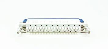 Materiale elettrico che protegge   derivando da uno scarico di fulmine isolato su bianco Immagini Stock Libere da Diritti