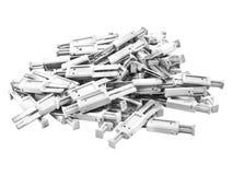 Materiale elettrico che protegge   derivando da uno scarico di fulmine isolato su bianco Immagine Stock