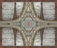 Materiale illustrativo dell'ornamento del ferro e di legno Immagini Stock Libere da Diritti