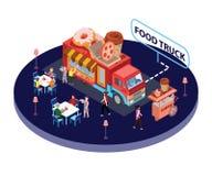 Materiale illustrativo isometrico del camion dell'alimento dove la gente sta mangiando l'alimento sulle vie illustrazione vettoriale