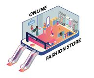Materiale illustrativo isometrico della gente che compera online illustrazione di stock